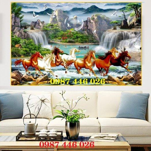 Gạch tranh phong thủy ốp tường phòng khách HP07661
