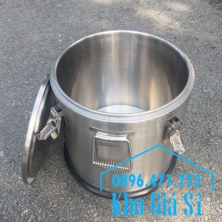 Thùng/Nồi inox cách nhiệt giữ nhiệt 2 lớp có nắp đậy kín vận chuyển chất lỏng dung tích 20L, 30L20