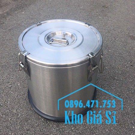 Thùng/Nồi inox cách nhiệt giữ nhiệt 2 lớp có nắp đậy kín vận chuyển chất lỏng dung tích 20L, 30L9