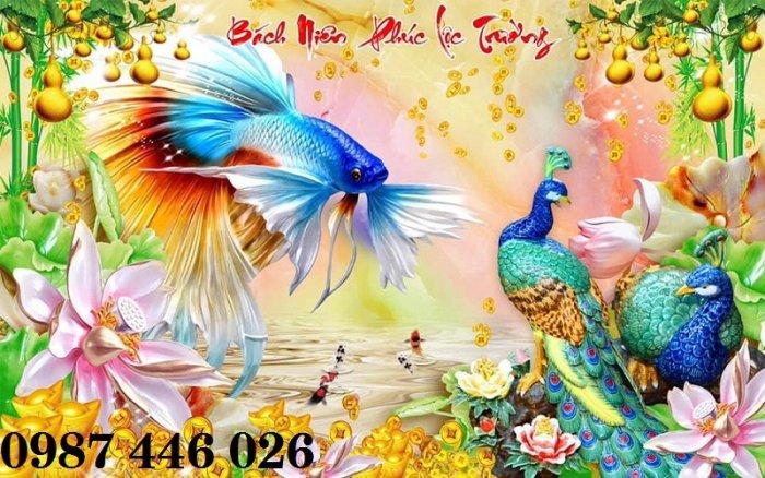 Tran gạch chim công 3d trang trí tường HP98813
