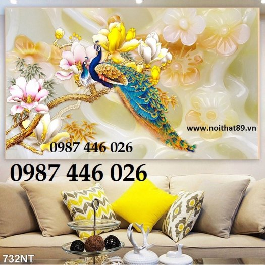 Tran gạch chim công 3d trang trí tường HP98812