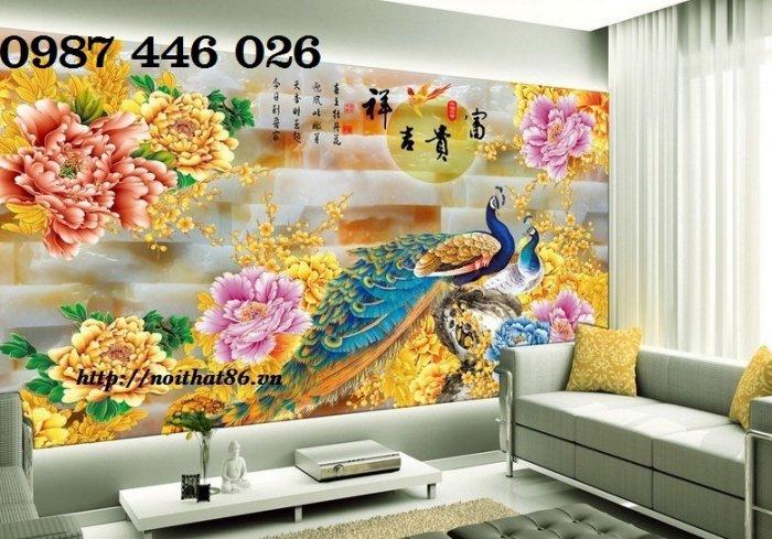 Tran gạch chim công 3d trang trí tường HP9888