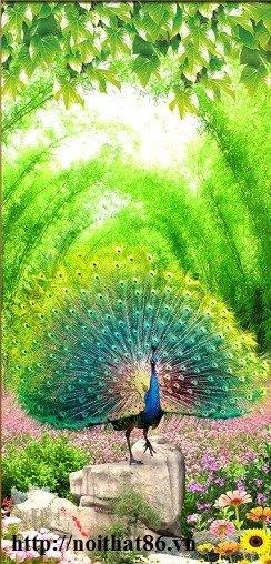 Tran gạch chim công 3d trang trí tường HP9886