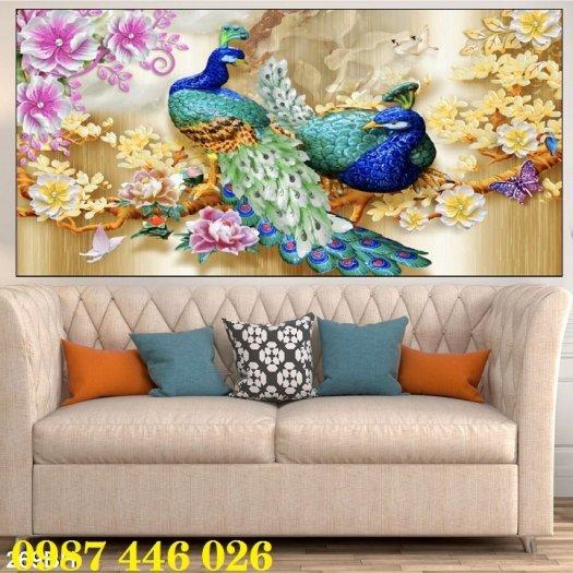 Tran gạch chim công 3d trang trí tường HP9885