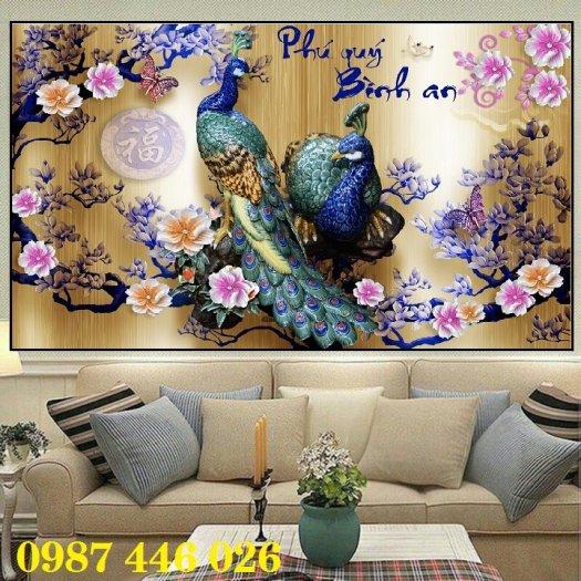 Tran gạch chim công 3d trang trí tường HP9883