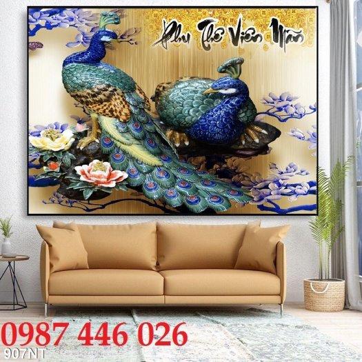 Tran gạch chim công 3d trang trí tường HP9881