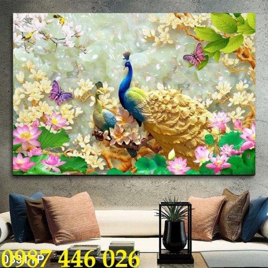 Tran gạch chim công 3d trang trí tường HP9880