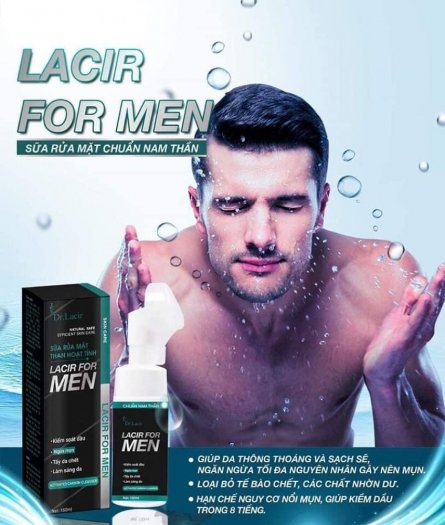 Sữa rửa mặt thân hoạt tính kiềm dầu Dr.lacir- dành cho nam- tặng kèm 1 bọt cạo râu- miễn ship2