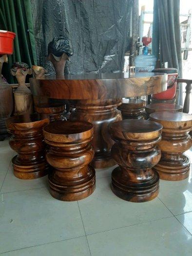 Bàn ghế gỗ me tây nguyên khối có đủ kích thước lớn nhỏ giá sỉ tại xưởng sản xuất anh khoa 25670