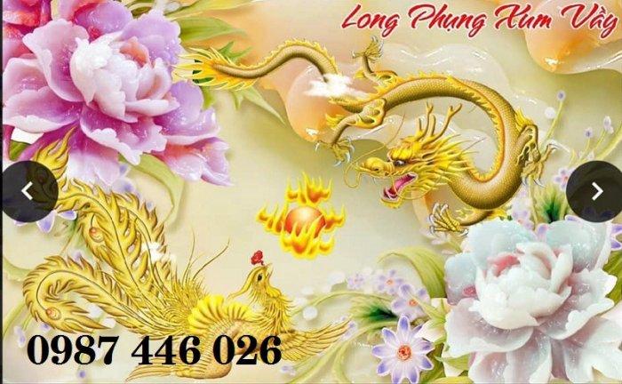 Tranh gạch men rồng phụng ốp tường trang trí đẹp Hp5227