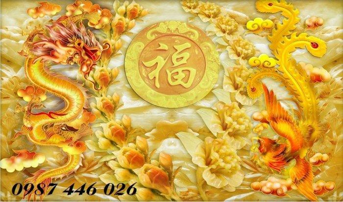 Tranh gạch men rồng phụng ốp tường trang trí đẹp Hp5226
