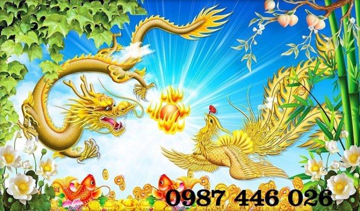 Tranh gạch men rồng phụng ốp tường trang trí đẹp Hp5224