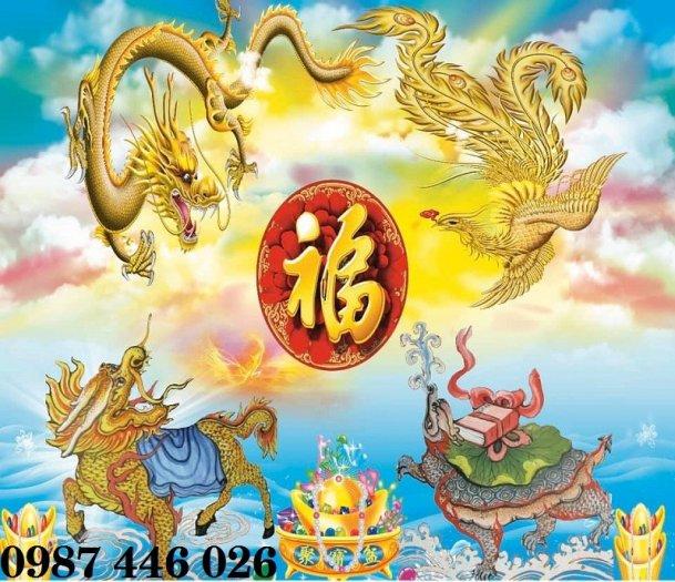 Tranh gạch men rồng phụng ốp tường trang trí đẹp Hp5222