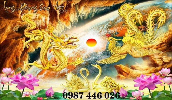 Tranh gạch men rồng phụng ốp tường trang trí đẹp Hp5221