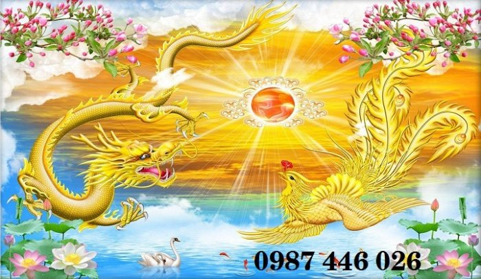 Tranh gạch men rồng phụng ốp tường trang trí đẹp Hp5220