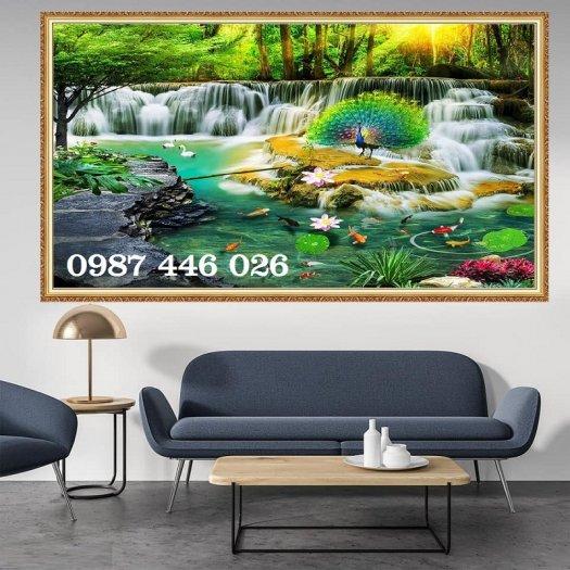 Gạch tranh tường trang trí 3d phòng khách HP79911