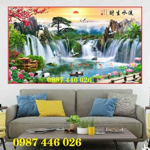 Gạch tranh tường trang trí 3d phòng khách HP79910