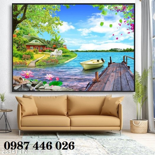 Gạch tranh tường trang trí 3d phòng khách HP7998