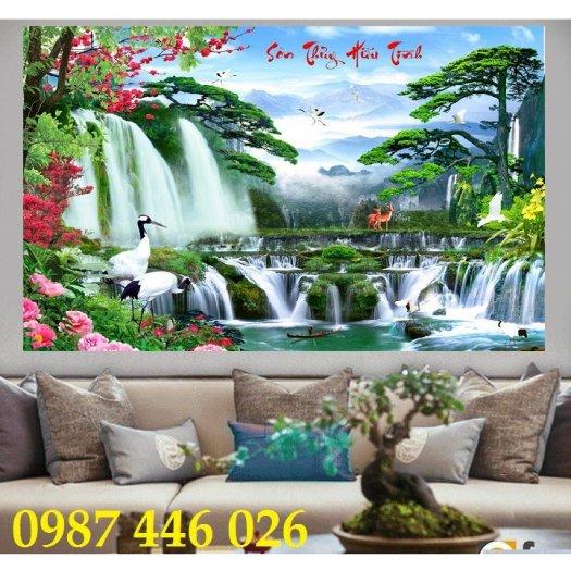 Gạch tranh tường trang trí 3d phòng khách HP7994