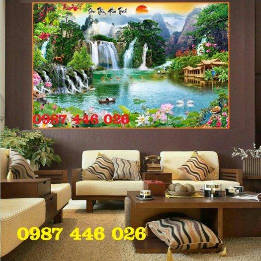Gạch tranh tường trang trí 3d phòng khách HP7992