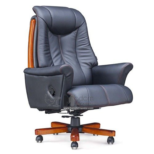 Ghế văn phòng bọc da thật 50% chân gỗ dành cho sếp nhập khẩu0