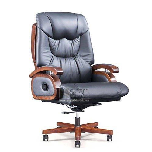 Ghế làm việc bọc da thật 50% chân gỗ dành cho CEO cao cấp nhập khẩu0