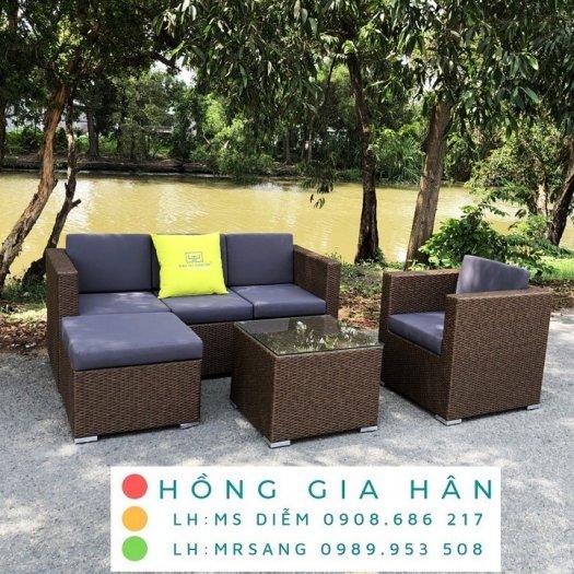 Sofa mây nhựa Hồng Gia Hân SM3420