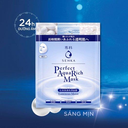Mặt nạ Senka ngăn ngừa lão hóa giảm sạm nám và phục hồi độ ẩm cho da Perfect AQua Rich Mask Luminous Moist 23g3