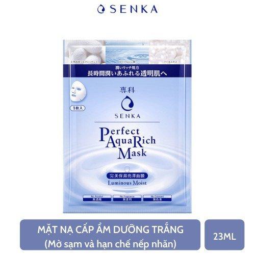 Mặt nạ Senka ngăn ngừa lão hóa giảm sạm nám và phục hồi độ ẩm cho da Perfect AQua Rich Mask Luminous Moist 23g1