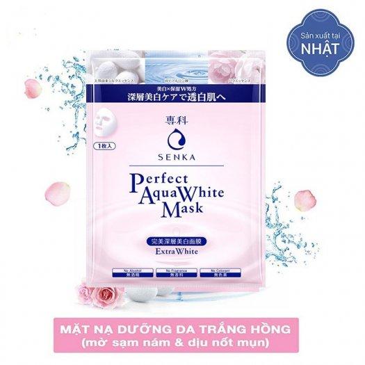 Mặt nạ Senka dưỡng da trắng hồng Perfect Aqua White Mask Extra White 23g2