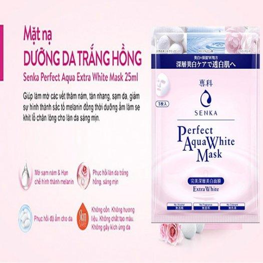 Mặt nạ Senka dưỡng da trắng hồng Perfect Aqua White Mask Extra White 23g0