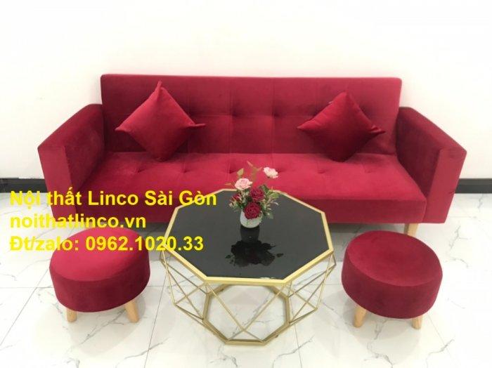 Bộ ghế sofa giường đa năng màu đỏ vải nhung rẻ đẹp13