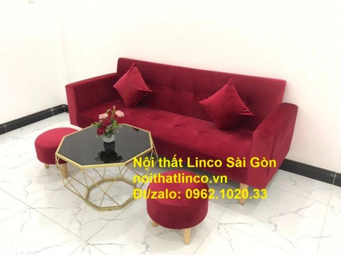 Bộ ghế sofa giường đa năng màu đỏ vải nhung rẻ đẹp12