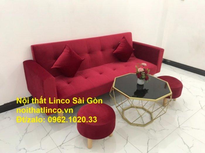 Bộ ghế sofa giường đa năng màu đỏ vải nhung rẻ đẹp11