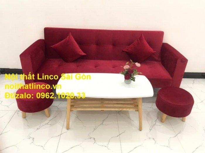 Bộ ghế sofa giường đa năng màu đỏ vải nhung rẻ đẹp10