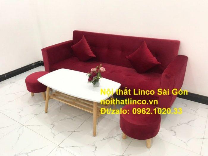 Bộ ghế sofa giường đa năng màu đỏ vải nhung rẻ đẹp9