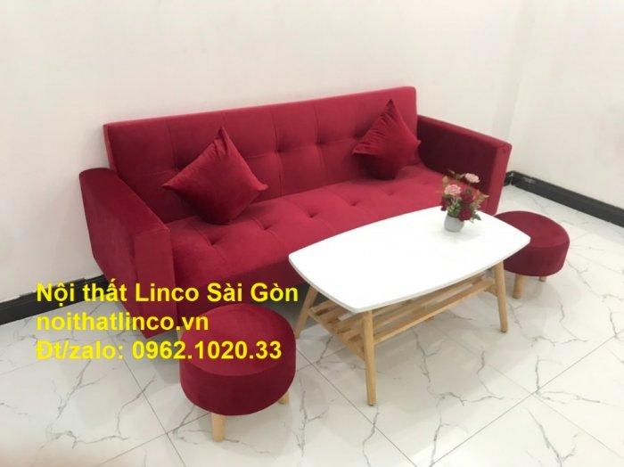 Bộ ghế sofa giường đa năng màu đỏ vải nhung rẻ đẹp8