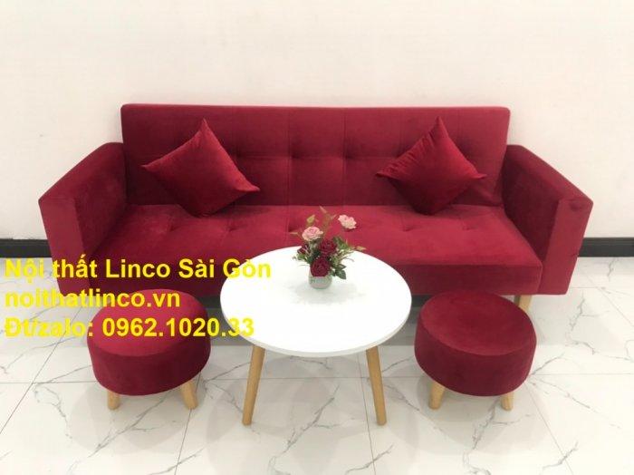 Bộ ghế sofa giường đa năng màu đỏ vải nhung rẻ đẹp7