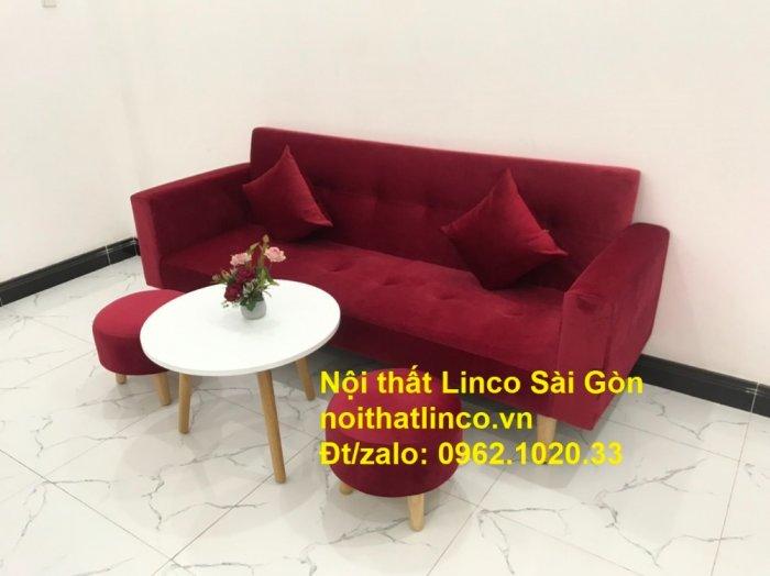 Bộ ghế sofa giường đa năng màu đỏ vải nhung rẻ đẹp6