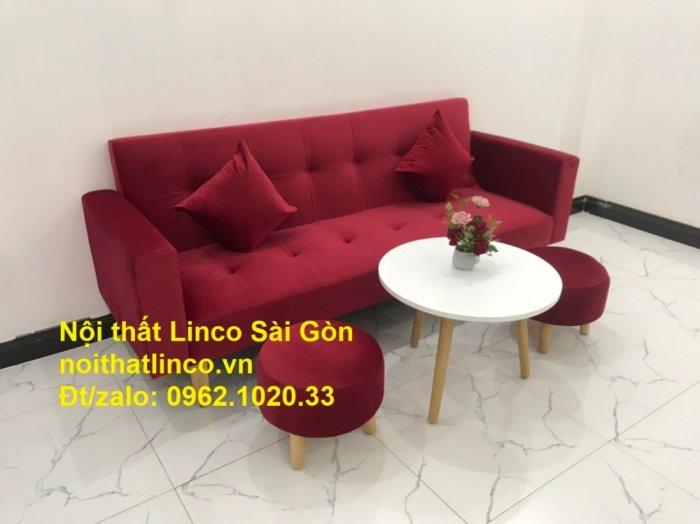 Bộ ghế sofa giường đa năng màu đỏ vải nhung rẻ đẹp5