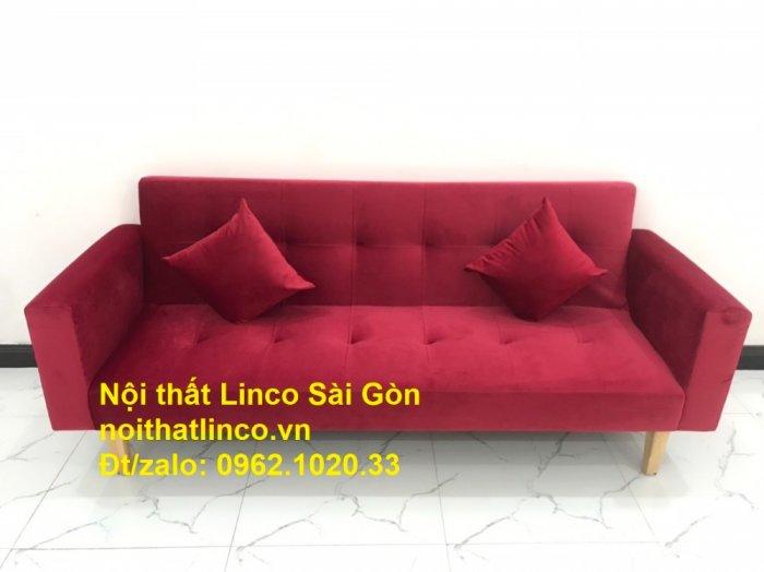 Bộ ghế sofa giường đa năng màu đỏ vải nhung rẻ đẹp4