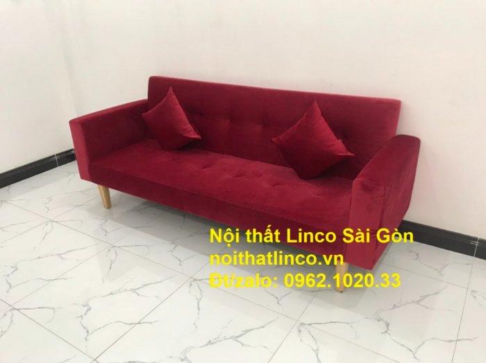 Bộ ghế sofa giường đa năng màu đỏ vải nhung rẻ đẹp3