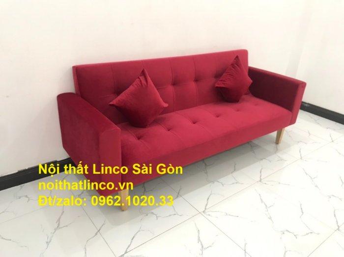 Bộ ghế sofa giường đa năng màu đỏ vải nhung rẻ đẹp2