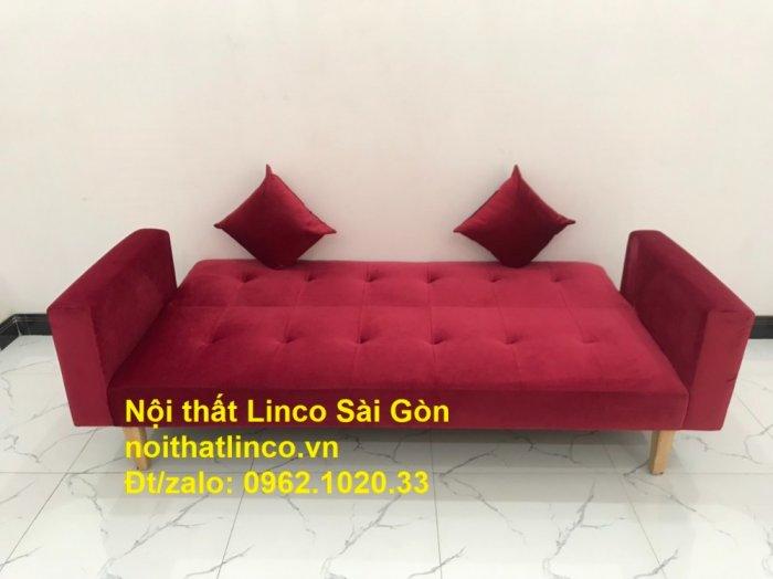 Bộ ghế sofa giường đa năng màu đỏ vải nhung rẻ đẹp1