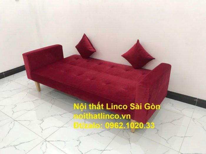 Bộ ghế sofa giường đa năng màu đỏ vải nhung rẻ đẹp0