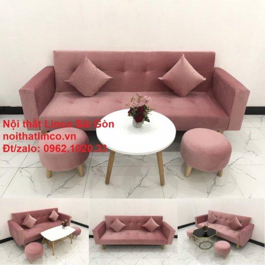 Bộ ghế sofa giường giá rẻ | Salong sopha màu hồng phấn đẹp phòng khách14
