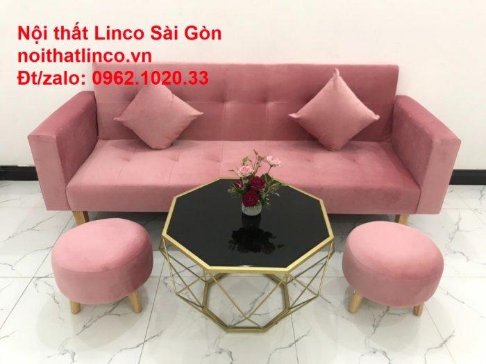 Bộ ghế sofa giường giá rẻ | Salong sopha màu hồng phấn đẹp phòng khách13