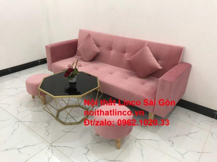 Bộ ghế sofa giường giá rẻ | Salong sopha màu hồng phấn đẹp phòng khách12