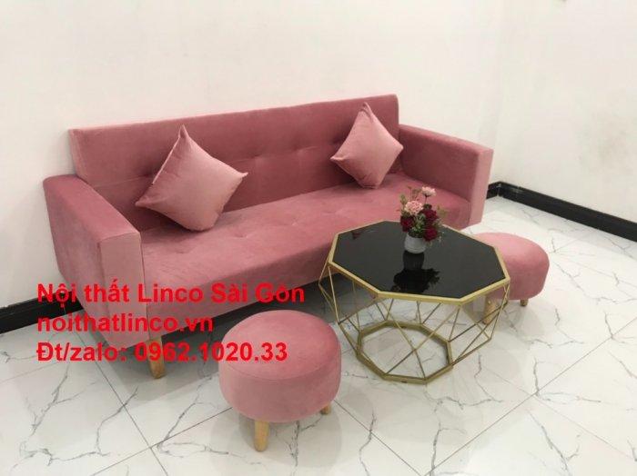 Bộ ghế sofa giường giá rẻ | Salong sopha màu hồng phấn đẹp phòng khách11