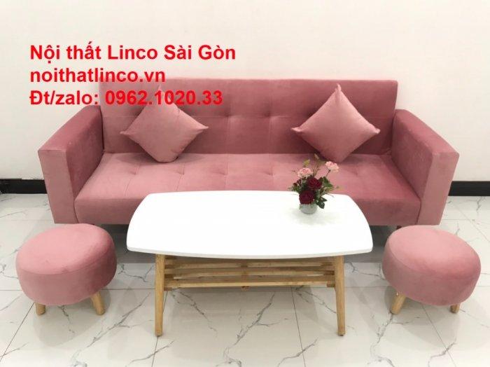 Bộ ghế sofa giường giá rẻ | Salong sopha màu hồng phấn đẹp phòng khách10